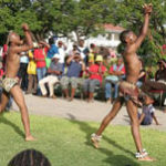 The Mighty Angels Khoisan Dance Group provided entertainment at the Opening of the Trade Fair